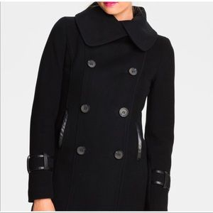 Mackage black wool coat with leather details Sz S